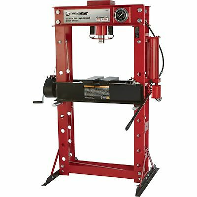 Strongway Air/Hydraulic Shop Press with Gauge and Winch - 50-Ton Capacity