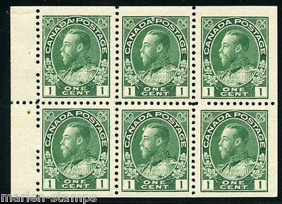 CANADA BOOKLET PANE SCOTT#104a  GEORGE V LIGHT  HINGED FULL ORIGINAL GUM