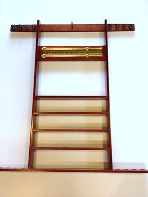 Mahogany POOL TABLE CUE RACK, Holds 8 Cues, Balls, Triangle, Snooker Scoreboard