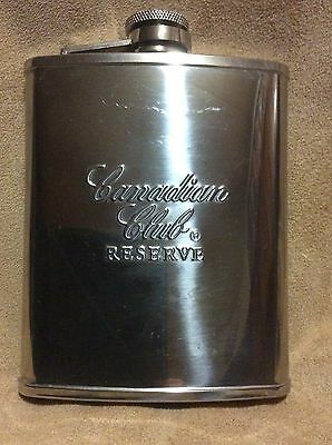 Vintage 1990's Canadian Club Reserve Stainless Steel Flask Free Shipping