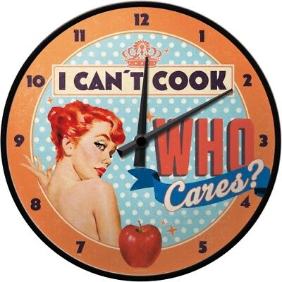 WANDUHR 51064 - I CAN´T COOK, WHO CARES ? - 31cm - NEU