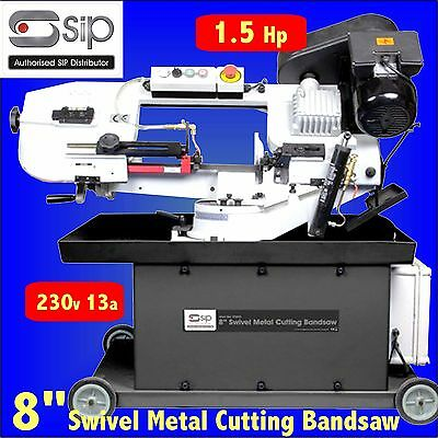 SIP 01593 230v 13a 1.5HP 8 inch Swivel Metal Cutting Bandsaw steel box round