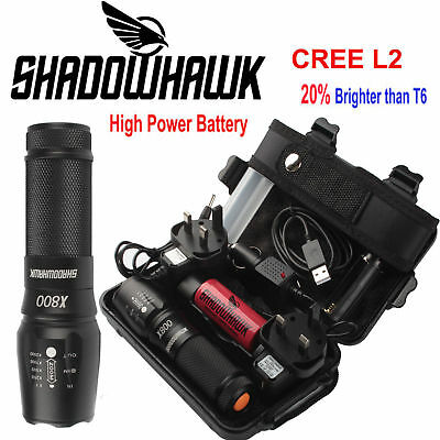 20000lm Genuine Shadowhawk X800 Flashlight XML L2 LED Zoom Military Torch Lamp