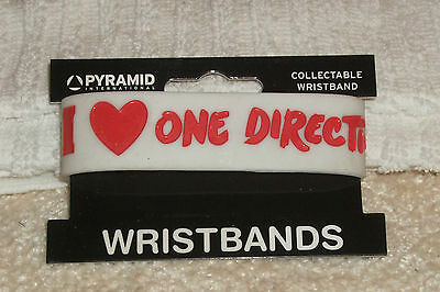 RUBBER WRISTBANDS ** I LOVE ONE DIRECTION ** NEW - 25 cm - COLOUR WHITE/RED