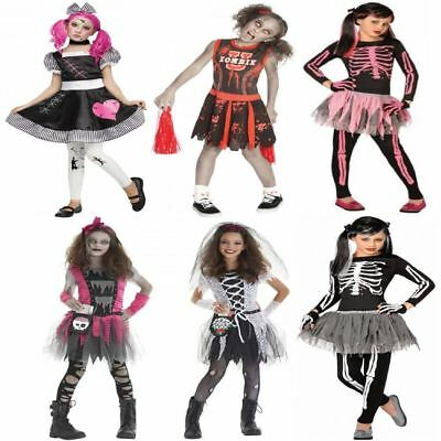 Deluxe Girls Childrens Kids Halloween Party Horror Fancy Dress Costume Outfit