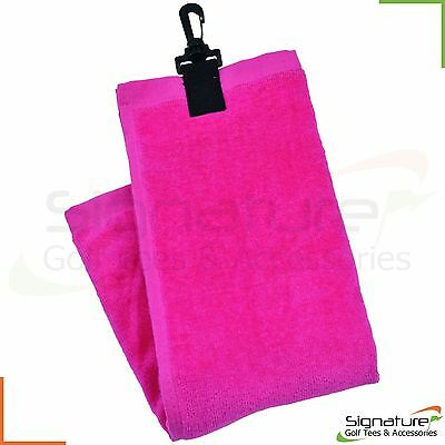 Longridge Luxury Golf Towel - 3 Fold Ladies Pink - Shoe Ball Club Cleaner