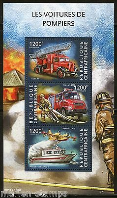 Central Africa  2015 Fire Trucks  Sheet Mint Nh