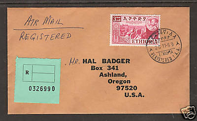 Ethiopia Sc 335 on 1969 Registered Cover to US, VF