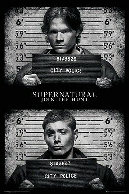 SUPERNATURAL MUGSHOT POSTER Dean and Sam Winchester, Size 24x36
