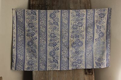 Antique French fabric Periwinkle floral stripe cotton for Cutting projects ~