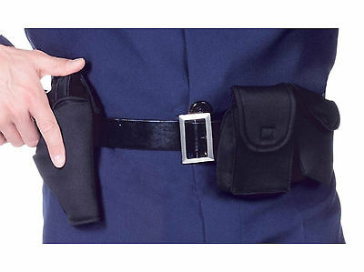 Adult Police Policeman Cop Costume Utility Belt W/ Holster Handcuff Pouch Black