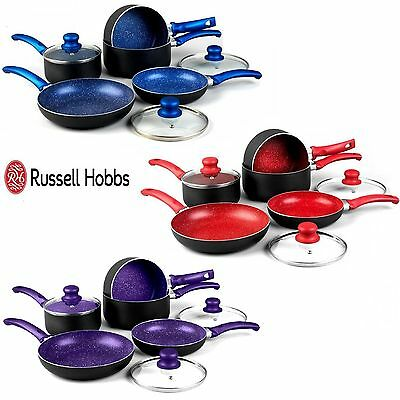 Russell Hobbs 8 Piece Non Stick Induction Stone Pan Set Saucepan Frying Pan Pot