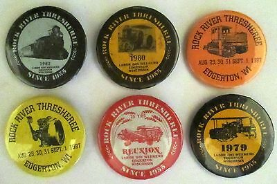 6 Rock River Thresheree Edgerton, WI Pinback Buttons 1970s 80s 90s