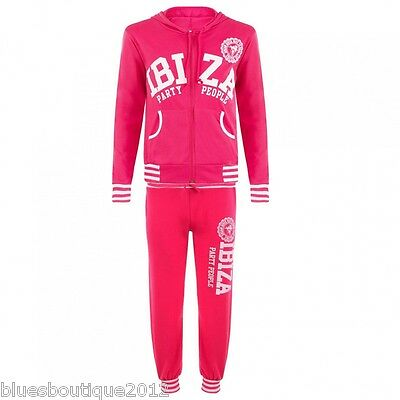 """Girls Pink """"Ibiza""""  Track Suit Jog Suit Aged 4-14 Years"""