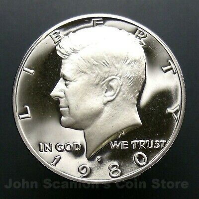 Gem Deep Cameo FREE SHIPPING! Clad US Coin 1980 S Proof Kennedy Half Dollar