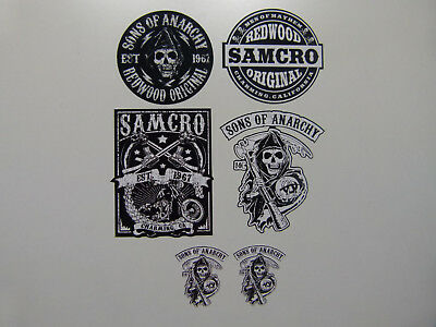 6er Oldschool Aufkleber Set SOA Samcro Biker Sons of Anarchy Bobber 1% Skull USA