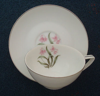 "GrantCrest pink orchid 6"" saucer & coffee tea cup Grant Crest Japan fine china"