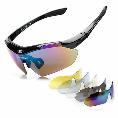 Pro Polarized Cycling Glasses Bike MTB Sports Sunglasses 5 Lens Goggles