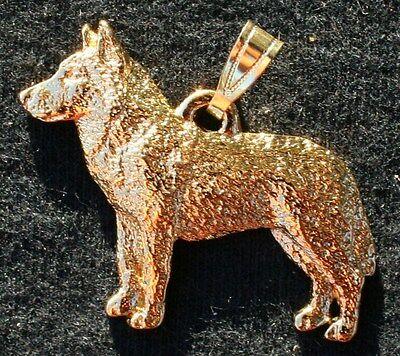 Siberian Husky Dog 24K Gold Plated Pewter Pendant Jewelry USA Made
