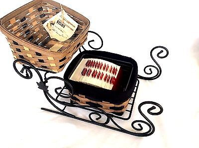 Wrought Iron Sleigh 2 Khaki Baskets Protector & Accessories Longaberger NEW 8 pc