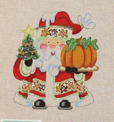 Strictly Christmas Santa with Pumpkin Handpainted Needlepoint Canvas