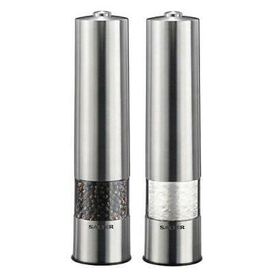 Salter 7522 Electronic Brushed Stainless Steel Salt and Pepper Mill No Mess Base
