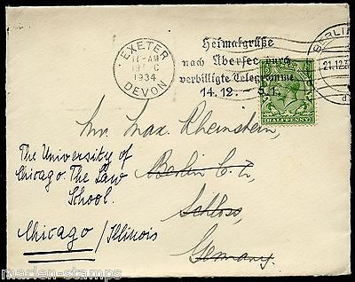 Great Britain Exeter 12/19/34 Cover To Berlin 12/21/34 Readdressed To Chicago