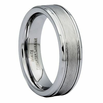6mm Center Brushed White Tungsten Carbide Wedding Band Ring Size 9