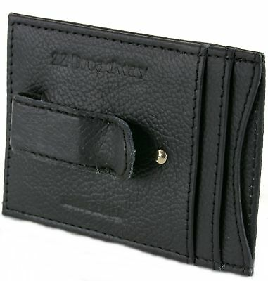 Mens Leather Money Clip Wallet Thin Slim Minimalist 4 Card Case Slots ID Window