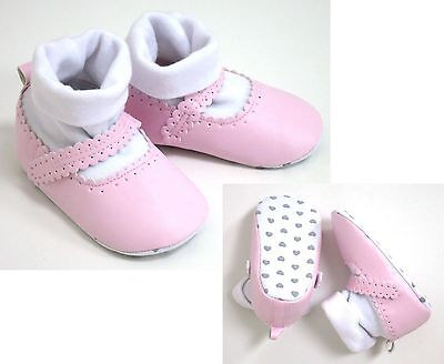 Baby Girls Pink Shoes With Built In High Top Socks 12-18 Months