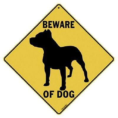 "Beware of Dog Metal Crossing Sign 16 1/2""x16 1/2"" Diamond shape Made in USA #368"