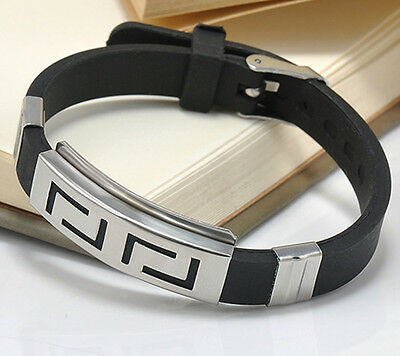Men's Black Punk Rubber Stainless Steel Wristband Clasp Cuff Bangle Bracelet New