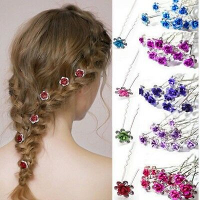 Elegant Wedding Bridal Rhinestone Flower Crystal Hair Pins Clip Bridesmaid 10Pcs