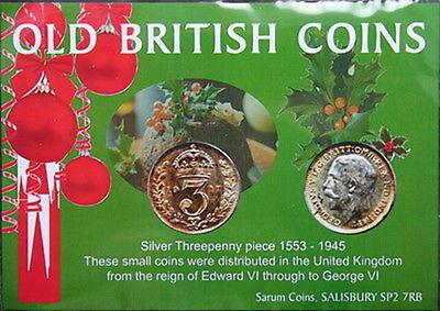 Old British Coins. Silver Threepenny piece. In Yuletide presentation pack.