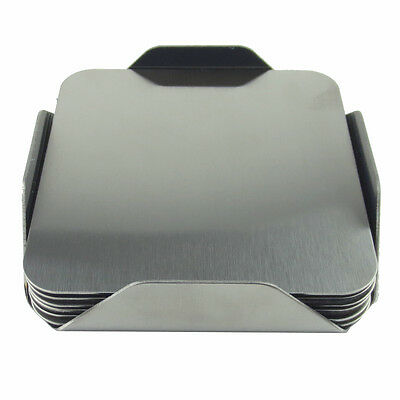 6 pcs Square Stainless Steel Cup Coaster Set with Base Holder