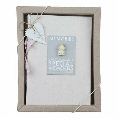 East of India Linen Memories Photo Album Boxed Shabby Chic Wood House