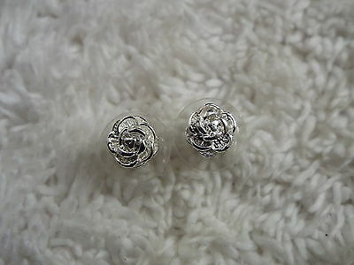 Sterling Silver Rose Flower Post Pierced Earrings  (B22)