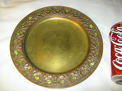 Antique Tiffany Studios Ny Usa Gold Bronze Favrile Art Plate Wall Charger Lct Ct