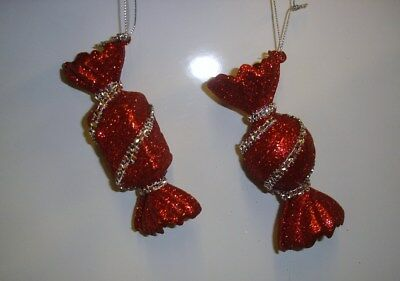 2 New Glass Sweets Christmas Tree Ornaments / Decorations 80mm