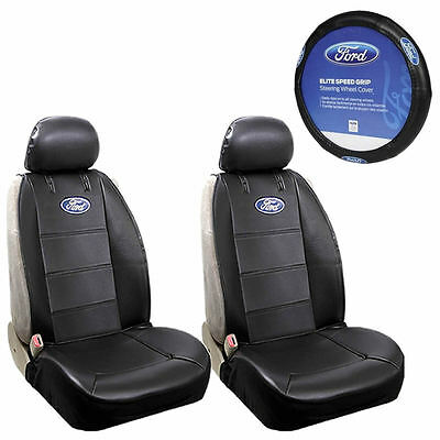 New 5pcs Ford Elite Style Car Truck Front SUV Seat Covers Steering Wheel Cover