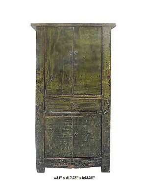 Chinese Distressed Light Grass Green Lacquer Tall Cabinet JZ405