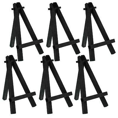"""6 Pack of Mini Wood 5"""" Tabletop Art Craft Display Easels BLACK Wooden Finish"""