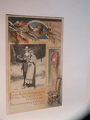 ANTIQUE POSTCARD A peaceful Thanksgiving with pilgrims embossed clock chair