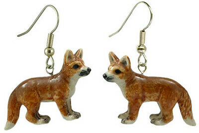 New NORTHERN ROSE Porcelain Earrings RED FOX Figurine Animal Figure Jewelry Wire