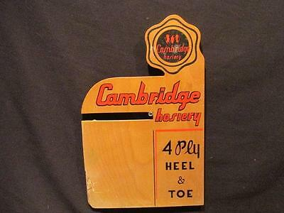 Cambridge Hosiery 4 Ply Heel & Toe Vintage Wooden Display Sign 12 X 8""