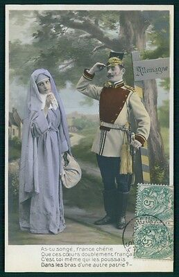 Military German Soldier Young Nun war WWI ww1 vintage old 1910s photo postcard