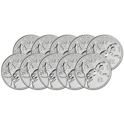 2016 Great Britain Silver Lunar Year of the Monkey £2 - 1 oz - BU - Ten 10 Coins