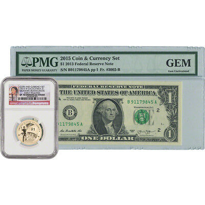 2015 US American $1 Coin and Currency Set - Certified NGC SP70 Early Releases