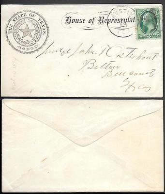 USA House of Representatives Official Cover 1874. State of Texas. Austin