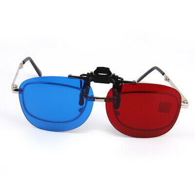 Pair of Clip On type Cyan Blue Red 3D Glasses Clip for 3D TV Movies Game